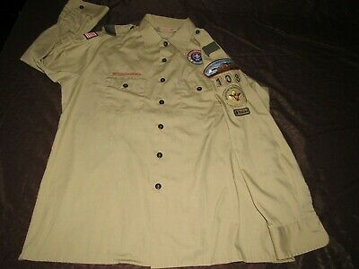 BOY SCOUTS OF AMERICA OFFICIAL MEN'S SHIRT USA w/patches men's Sz XL (17-17 1/2)