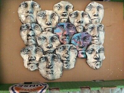 "Wall-Art Sculpture 14 Faces by Ritter 15.5""  by 14"""