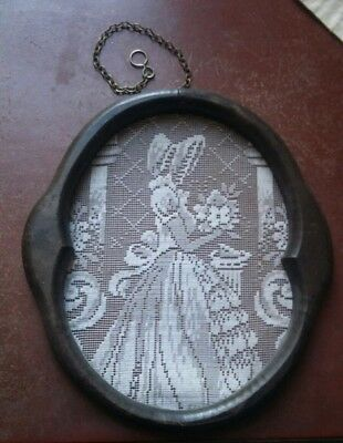 Crinoline Lady Lace Picture Panel Frame Vintage Hand Crochet Filet Lace Handmade