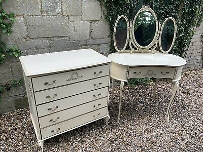 Vintage French Louis Style Dressing Table & Chest Of Drawers .Delivery Available