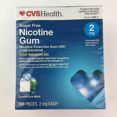 CVS Nicotine Gum 2MG Coated Ice Mint 100 Pieces Sugar Free Exp 12/2019