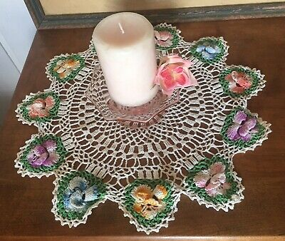 Vintage Antique Old Crochet Handmade Doily Pansy Purple Blue Green Lavender 16""