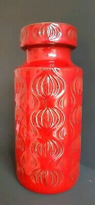 Vintage Mid Century Modern Red West German Pottery Amsterdam Orion Vase