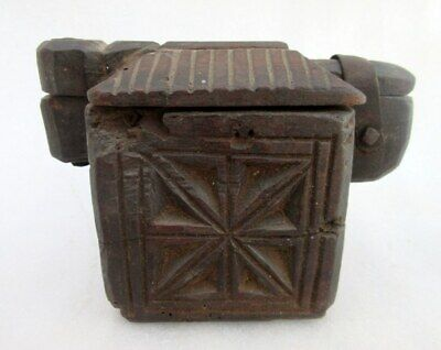 Old Rare Indian Antique Hand Carved Wood Home Collectible Kitchenware Spice Box
