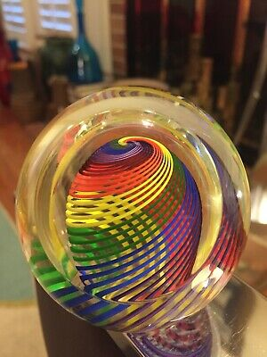Beautiful Paul Harrie Rainbow Colored Spiral Abstract Glass Paperweight Nice
