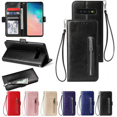 For Samsung Galaxy S10 S10+ Leather Zip Card Stand Holder Flip Wallet Case Cover