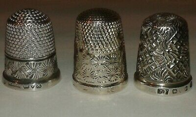 Collection of 3 Antique Silver Thimbles - All Hallmarked English Silver.