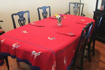WILLIAMS SONOMA French Country Red/ blue Rooster Tablecloth & 10 Napkins Rare!