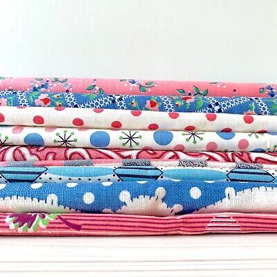 9 pc Lot Vtg 40s Cotton Fabric Pink Blue Turquoise Feedsack & More Dots Flowers
