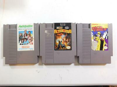 Lot Of 3 Nintendo Nes Games Cleaned Tested Battle Chess Dick Tracy Anticipation