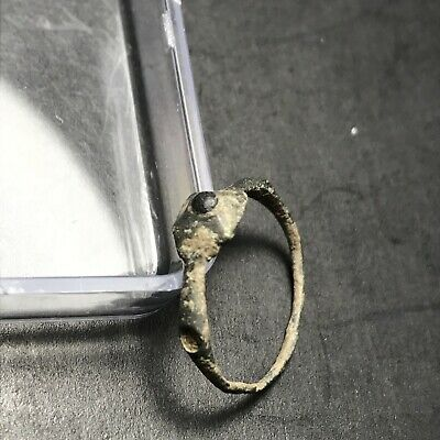 Ancient Late Roman Empire Bronze Ring W Stone - *Fragile -Great Piece Of History