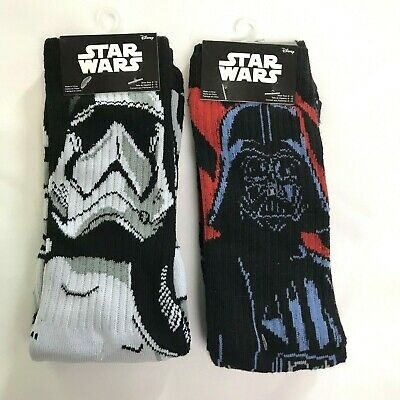 Star Wars Men Women Storm Trooper / Darth Vader Crew Socks 2 Pairs NEW