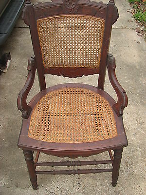 1880's Antique Victorian Eastlake Walnut & Cane Parlor Dining Chair