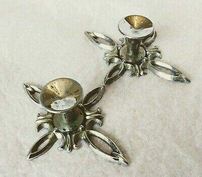 Vintage Mid Century Pair Solid Chrome Star Pattern Drawer Pull Cabinet Handles