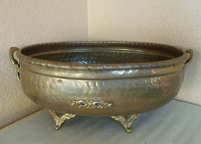 """Vintage Hammered Solid Brass Footed Oval Bowl Planter w/ Elephant Handles 11""""lg"""