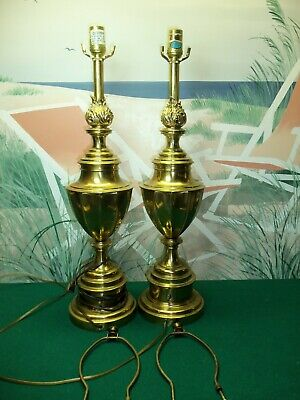 """Pair Of Vintage Stiffel Neoclassical Brass Table Lamps - 26"""" Tall"""