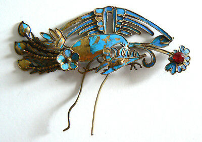 Qing Dynasty Kingfisher feather Pendant Antique VINTAGE Chinese 19thTian-tsu 點翠