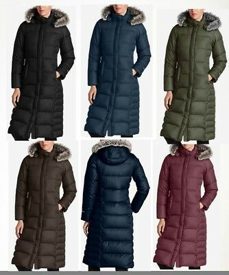 NWT Eddie Bauer 18 Womens Lodge Down Parka Duffle Coat Hooded 3 Colors Available
