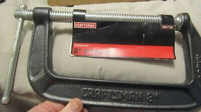 """New Craftsman 8"""" C-Clamp Opens To 8"""" 4"""" Throat Depth Heavy Duty"""