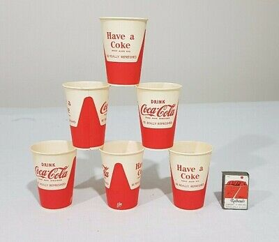 6 x Small Vintage Drink Coca Cola Wax Coated Drinking Cups