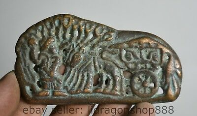 9cm Collect Antique Antique China Bronze People Deer tirant marque de chariots