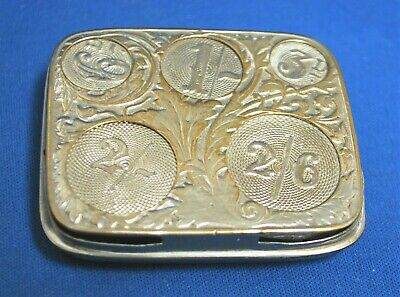 An antique coin holder case, silver plated, Victorian sprung divisions
