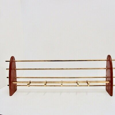 Garderobe Messing Holz Art Deco 81cm 40s Garderobenhaken coat rack Wandgarderobe