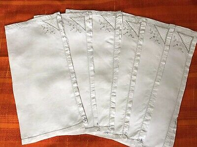 vintage linen napkins Set Of Six With Fillet Lace Inserts &  Hand Embroidery
