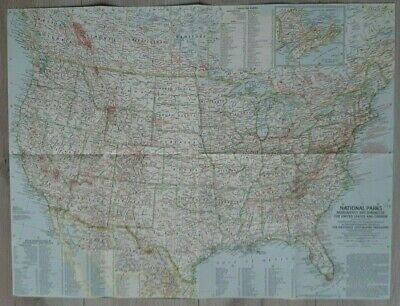 National Geographic Map National Parks Monuments Of The USA & Canada, (May 1958)