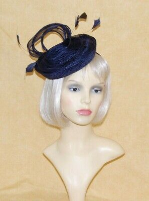 Navy Blue Sinamay Fascinator With Loops & Feathers on Head Band.