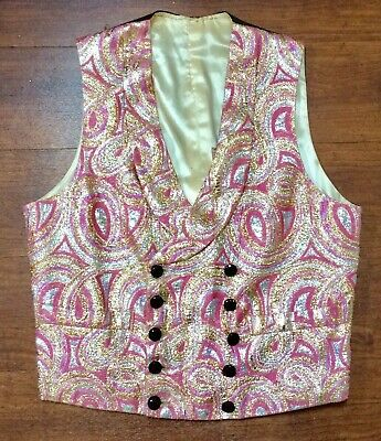 """Groovy 1960s Psychedelic Pink And Gold Brocade Waistcoat 38"""""""