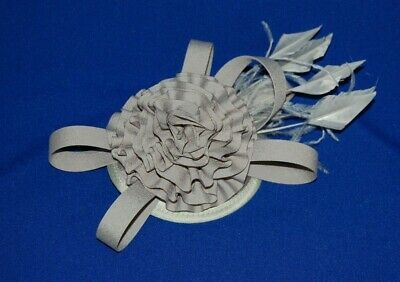 Elegant Grey Fascinator with Ruffle, Loops & Feathers On Hair Clip.