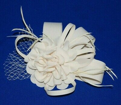 Elegant Cream Fascinator with Flower, Loops & Feathers On Hair Comb.