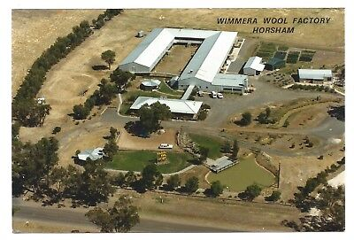 VIC - c1980s POSTCARD - AERIAL VIEW OF WIMMERA WOOL FACTORY, HORSHAM, VICTORIA