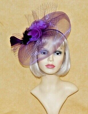 Ladies Elegant Purple Net Fascinator with Veiling Feathers & Flower On Head Band