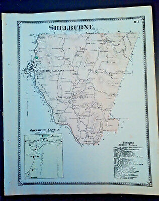 1871 Original Map: Shelburne, MA Hand Colored Lithograph F.W. BEERS SALE