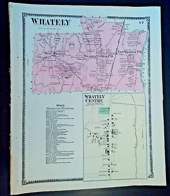 2 Original Maps:Whatley & Millers Falls MA Lithograph 1871 F.W. BEERS SALE