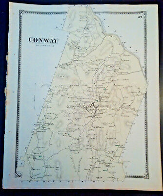 2 Original Maps: Conway & Berkville MA Lithograph 1871 F.W. BEERS SALE