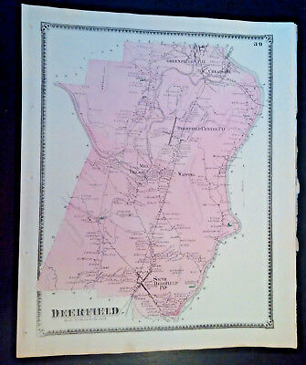 2 Original Maps: Deerfield, South & City Centre MA Lithograph 1871 FW BEERS SALE