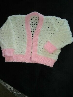 NEW Hand knitted baby girls cardigan 9-12 mths White/pink