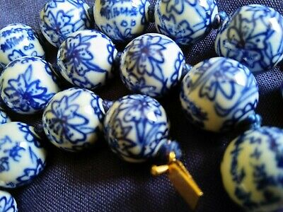 Vintage Chinese blue and white hand painted porcelain Bead Necklace 28 inch