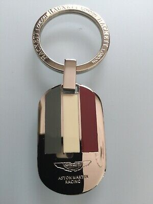 ASTON MARTIN Key Ring Etched and infilled On Leather RAPIDE VANQUISH DB 7 8 9 11