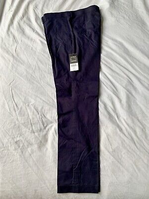 Topman New Navy Blue Cropped Cotton Trousers Size 32 Regular