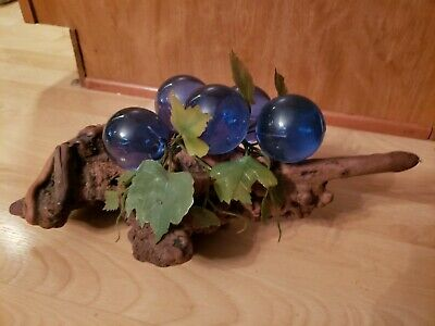 Vintage Mid-Century Lucite Acrylic Grape Cluster on Driftwood Stem blue