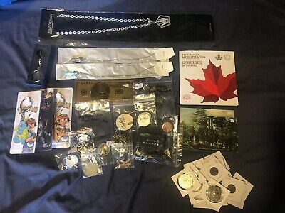 Junk Drawer Lot #2 Coins, Tokens, Keychains, Postcards, Necklaces And More