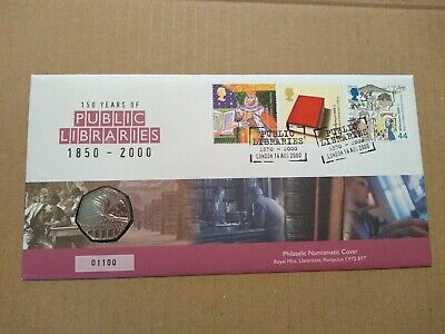 2000 Public Libraries 50p Coin Cover FDC PNC