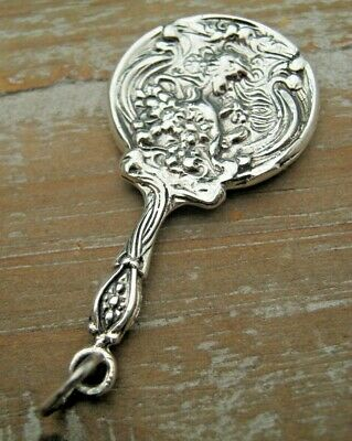 Pretty Nouveau Style English Hallmarked Sterling Silver Chatelaine Mirror