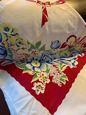 Bright Colorful Vintage Floral Tablecloth