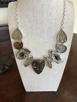 Brown Druzy Statement Becklace. Smoky  Brown Topaz, Smoky Quartz