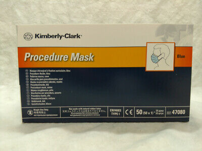 New Case of 500 Procedure Mask Kimberly-Clark REF 47080 Blue